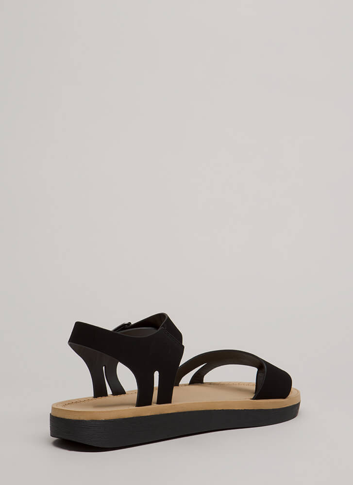 Walk Over Strappy Faux Nubuck Sandals BLACK