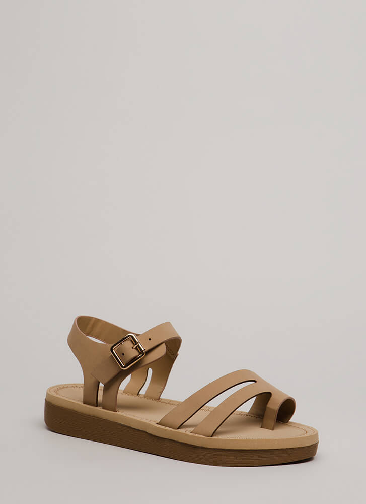 Walk Over Strappy Faux Nubuck Sandals NATURAL (You Saved $12)