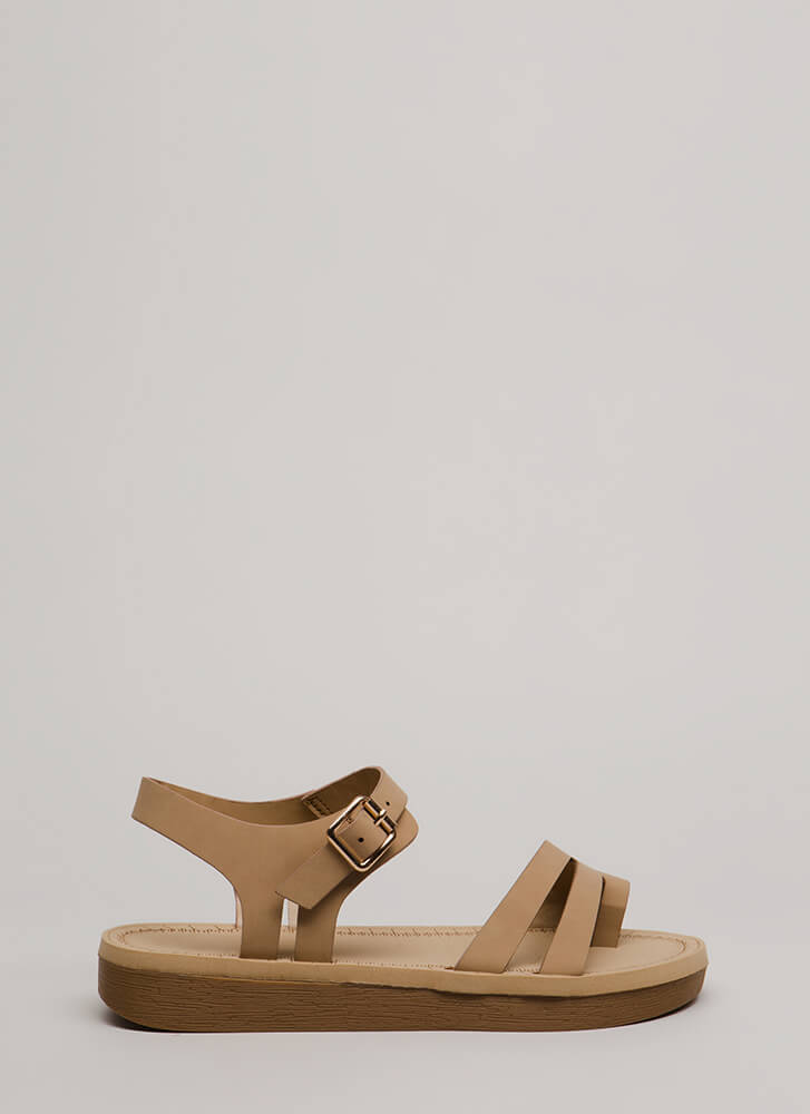 Walk Over Strappy Faux Nubuck Sandals NATURAL