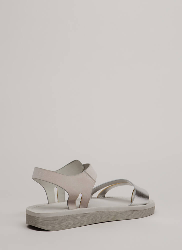 Walk Over Strappy Metallic Sandals SILVER