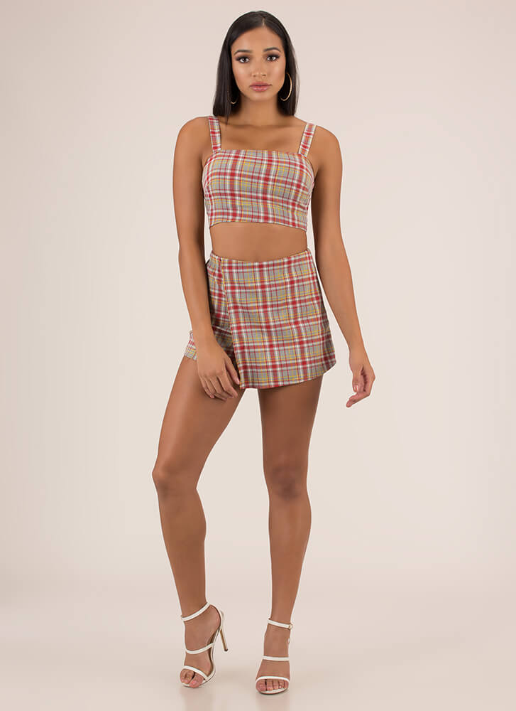 Plaid To See You Top And Skort Set RED (Final Sale)