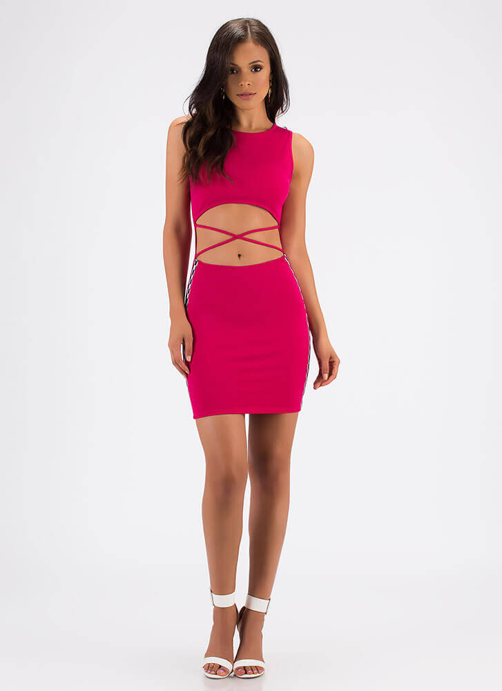 On Your Marks Strappy Checker Trim Dress FUCHSIA