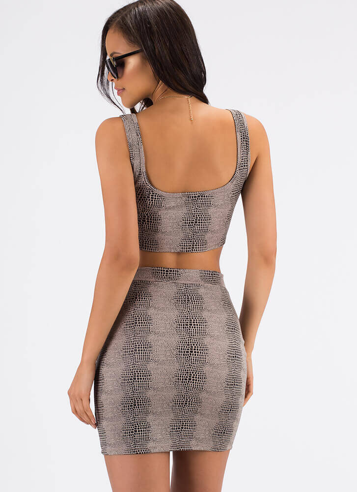 The Scales Lace-Up Top And Skirt Set TAUPE