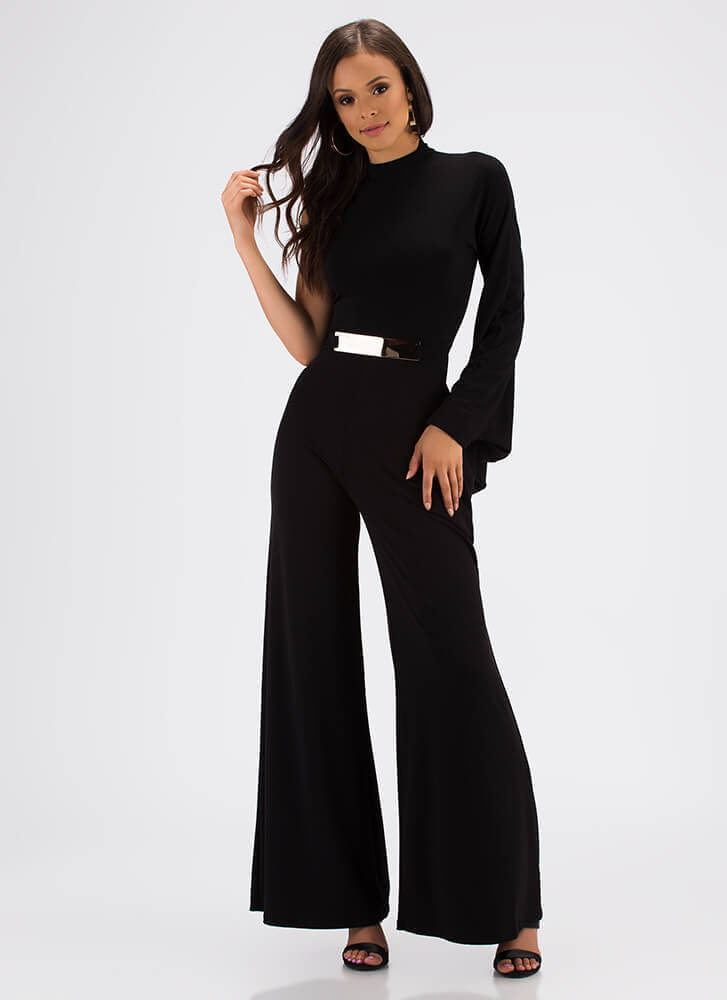 Connection One-Sleeve Palazzo Jumpsuit BLACK (Final Sale)