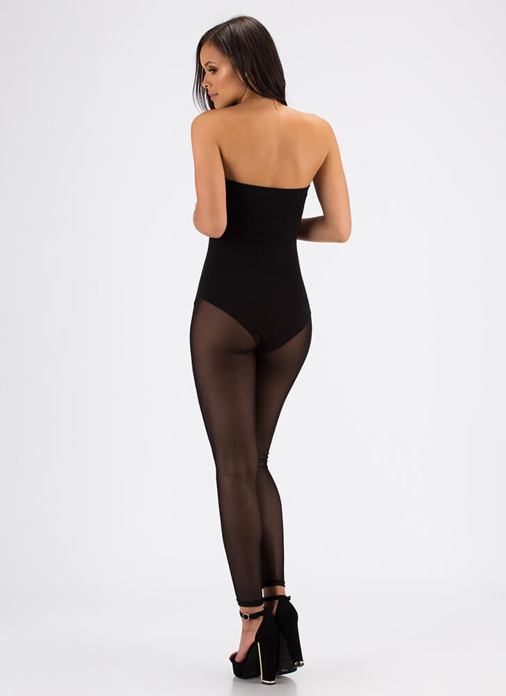 Sexy Bunny Strapless Mesh Jumpsuit BLACK