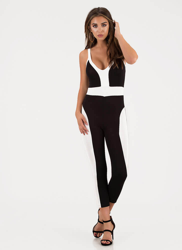 Colorblock Theory Two-Toned Jumpsuit BLACK