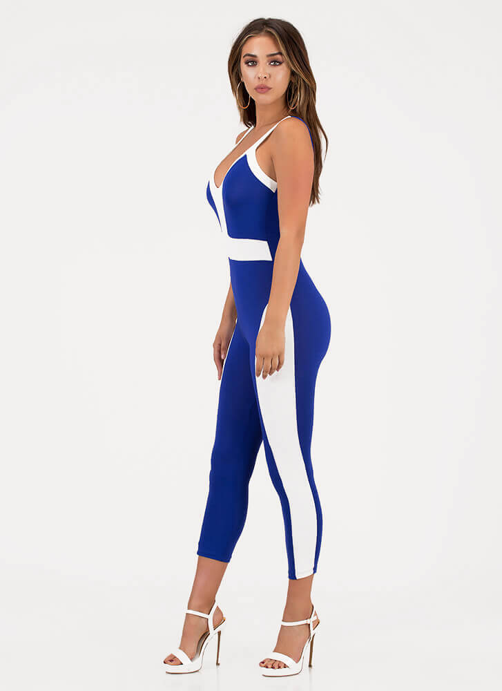 Colorblock Theory Two-Toned Jumpsuit ROYAL