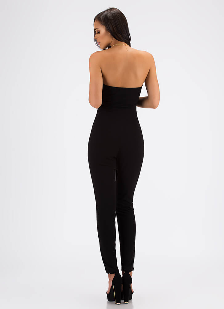 Knot A Sweetheart Strapless Jumpsuit BLACK