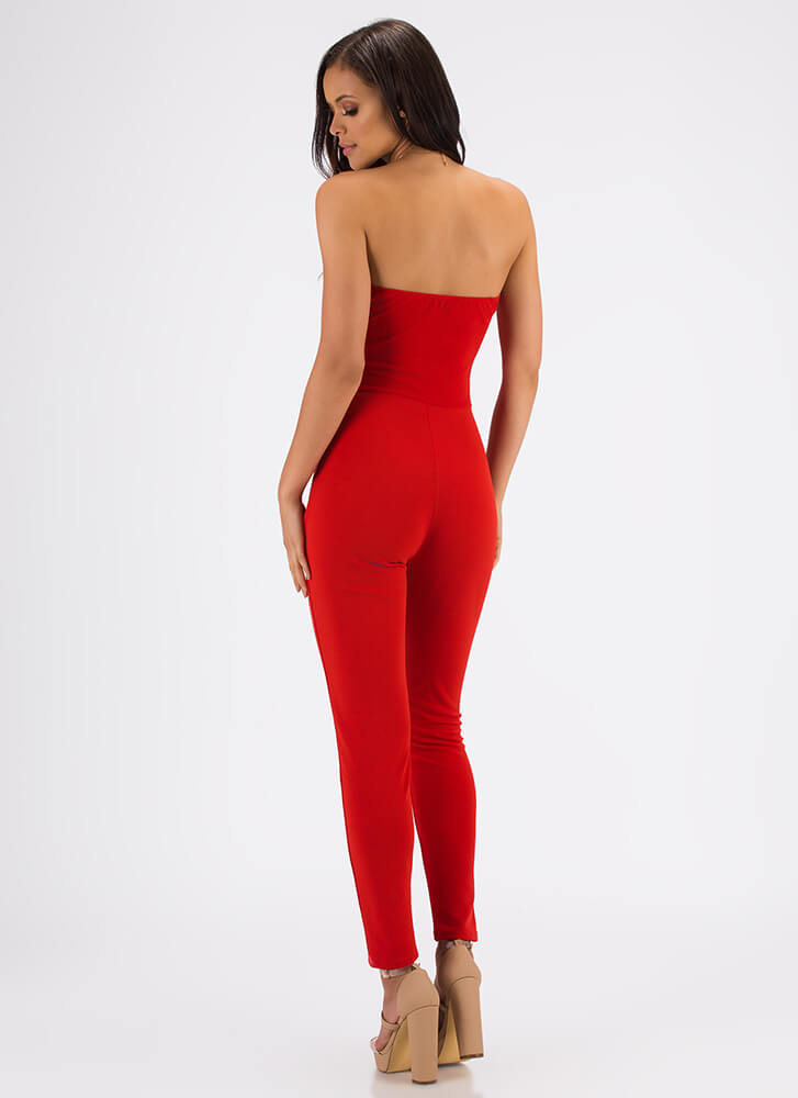 Knot A Sweetheart Strapless Jumpsuit RED
