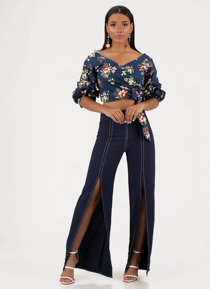 Start To Blossom Wrapped Floral Top NAVY