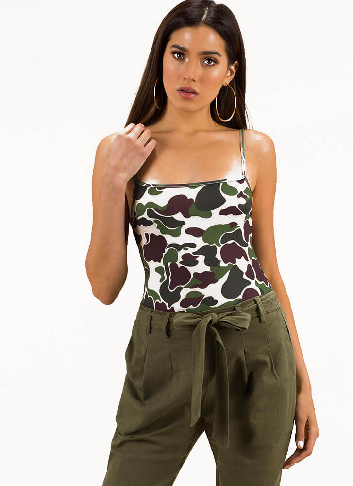 Head In The Clouds Camo Print Bodysuit TAUPE