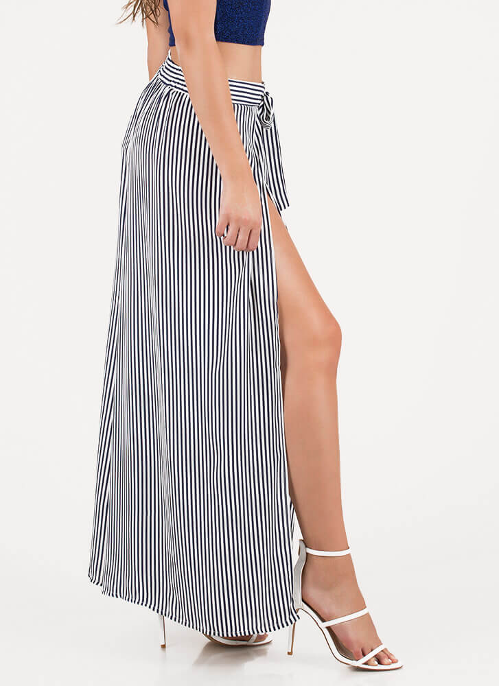 Slits My Life Striped Palazzo Pants NAVY
