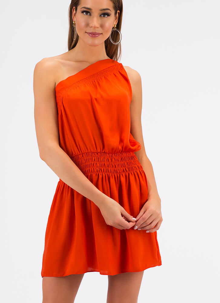 Lessons In Asymmetry One-Shoulder Dress ORANGE