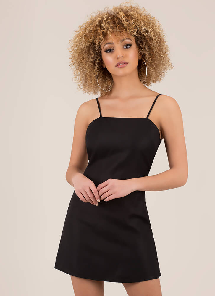 Date With My Bow Tie-Back Minidress BLACK