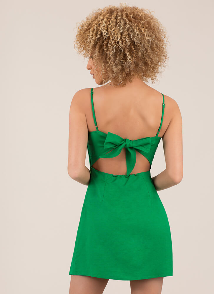 Date With My Bow Tie-Back Minidress KELLYGREEN