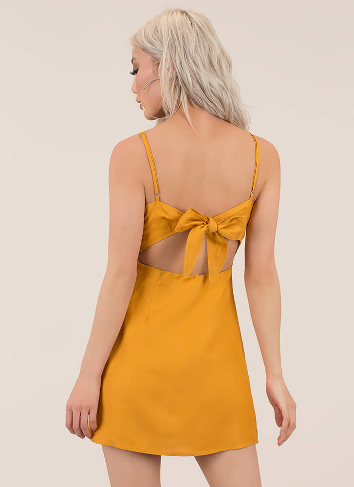 Date With My Bow Tie-Back Minidress MUSTARD