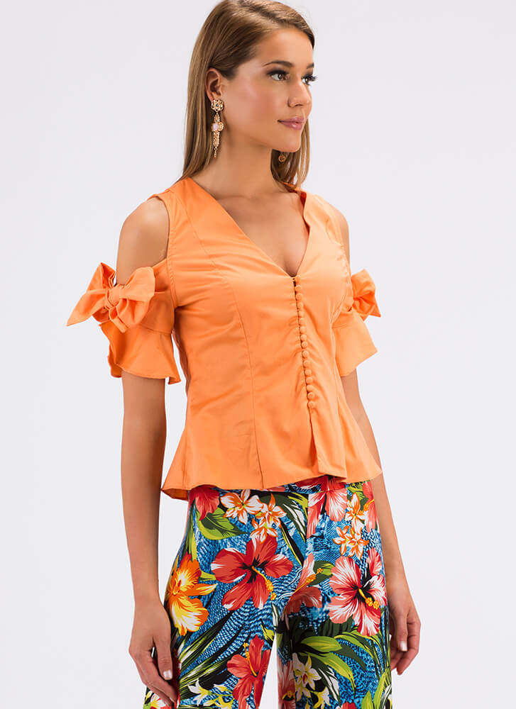 New Bow Buttoned Cold-Shoulder Blouse CANTALOUPE