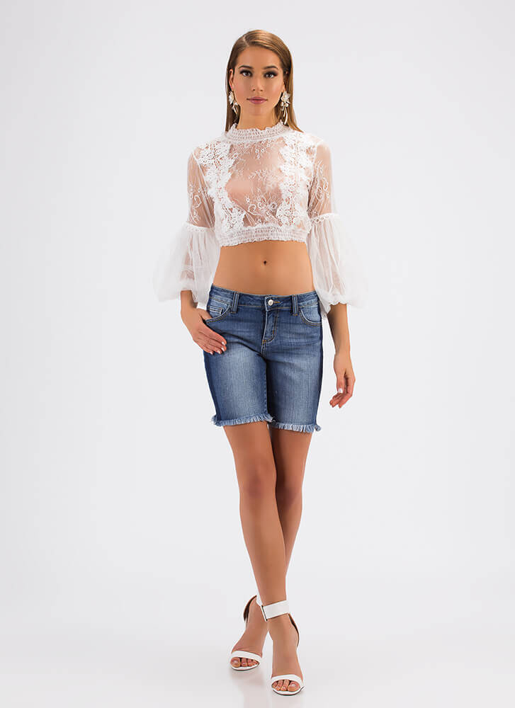Victorian Vibes Floral Lace Crop Top WHITE