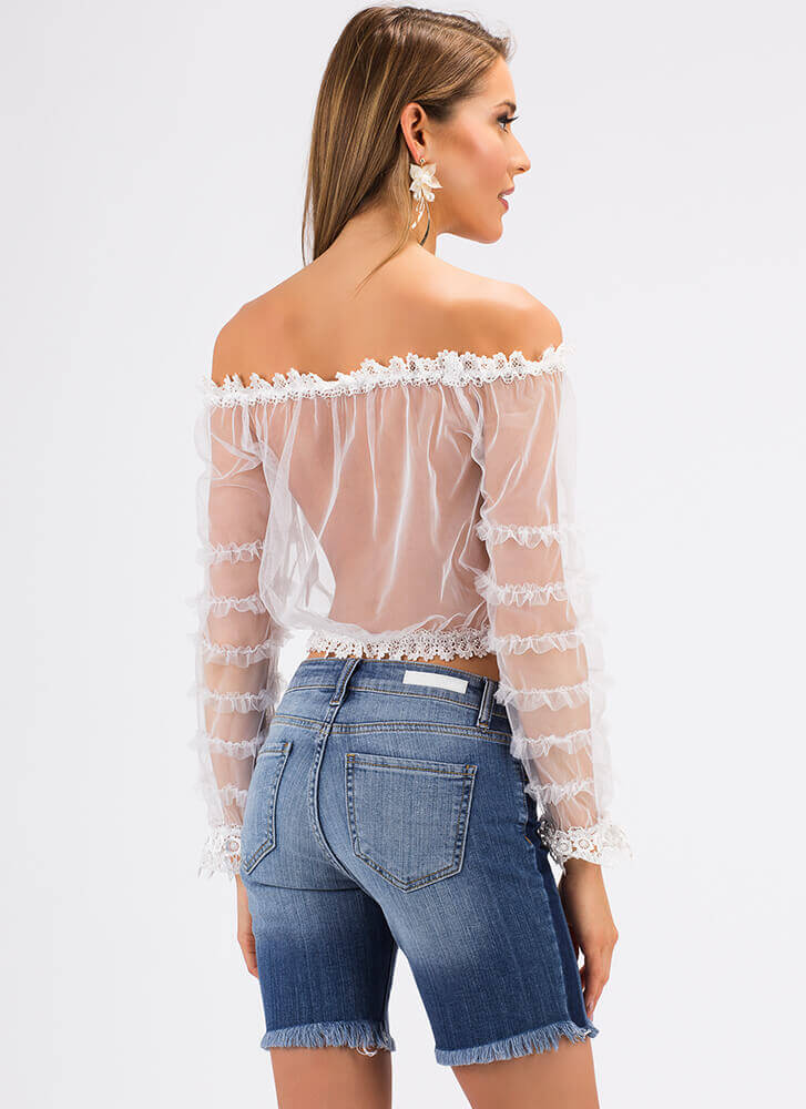 Lace And Mesh Sheer Off-Shoulder Top WHITE