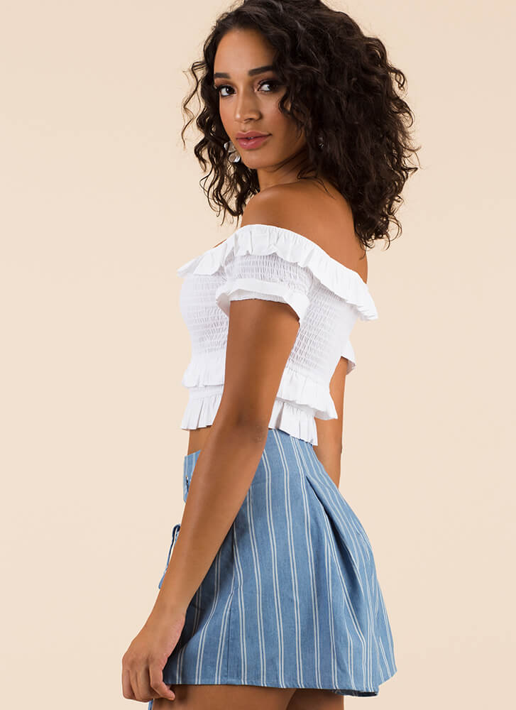 Frill Ride Ruffled Off-Shoulder Crop Top WHITE