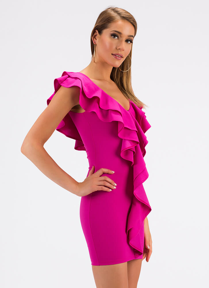 Can You Frill The Love Ruffled Minidress FUCHSIA (Final Sale)