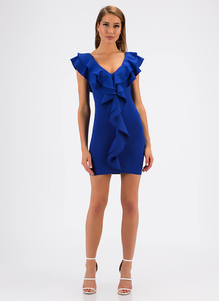 Can You Frill The Love Ruffled Minidress ROYAL