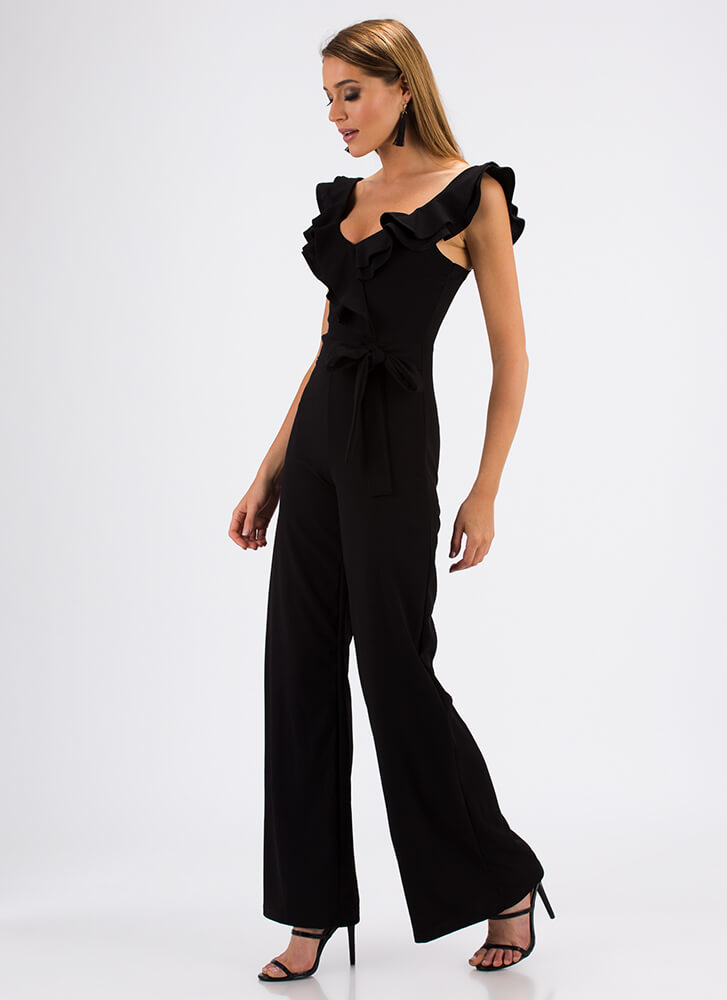 Can You Frill The Love Ruffled Jumpsuit BLACK (Final Sale)