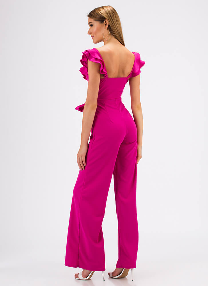 Can You Frill The Love Ruffled Jumpsuit FUCHSIA