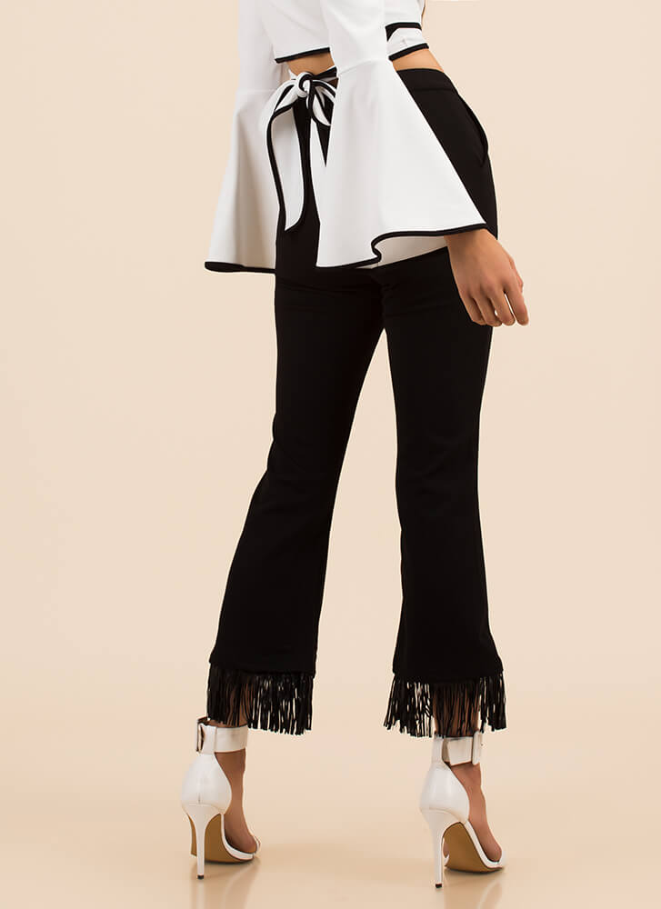 Smarty Pants Fringed Flared Trousers BLACK