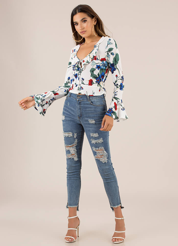 Garden Of Life Ruffled Floral Top IVORY