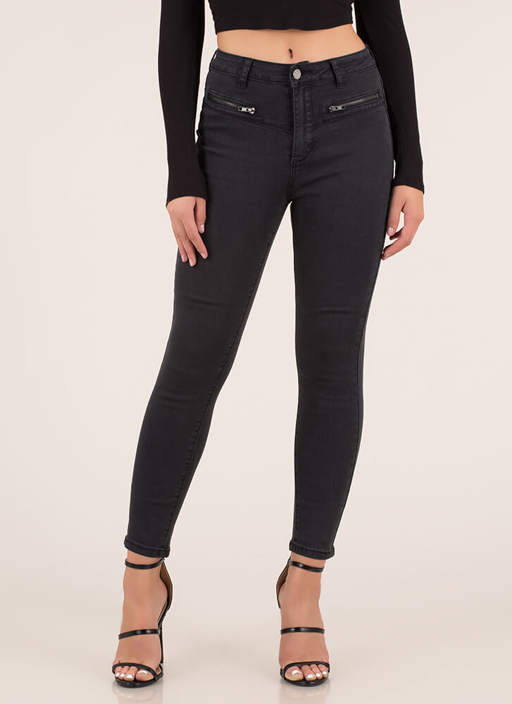 Zip Through It Moto Skinny Jeans BLACK