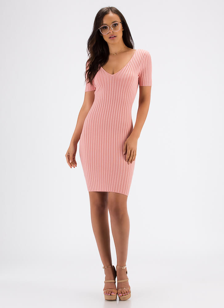 Form And Function Rib Knit Midi Dress PINK