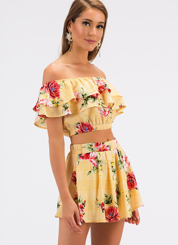 Fine Florals Ruffled Top And Shorts Set YELLOW