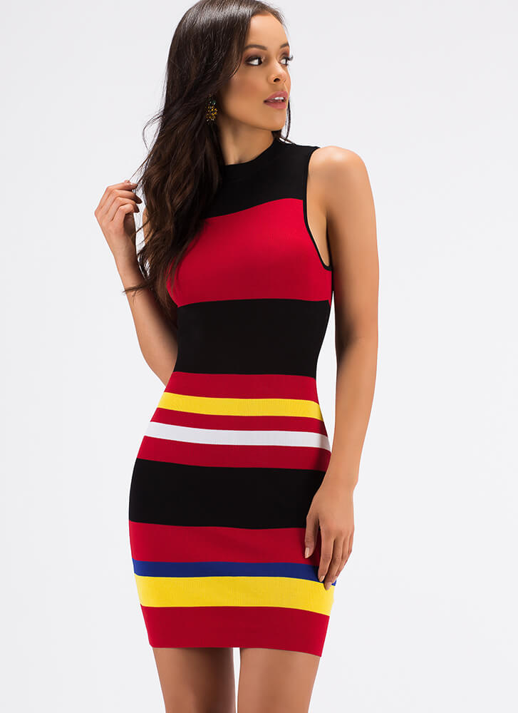 Striped Sensation Colorblock Midi Dress BLACKMULTI