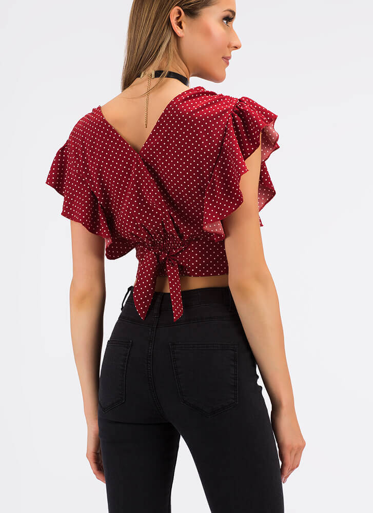 Sweet Spots Ruffled Polka Dot Top WINE (Final Sale)
