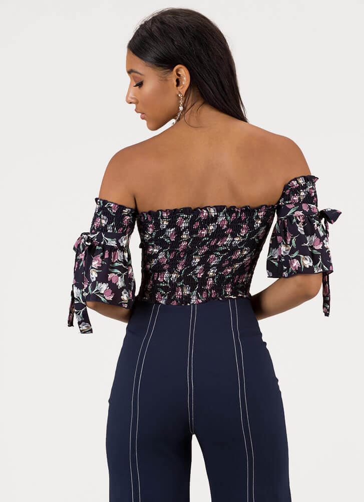 Read My Tulips Off-Shoulder Floral Top NAVY