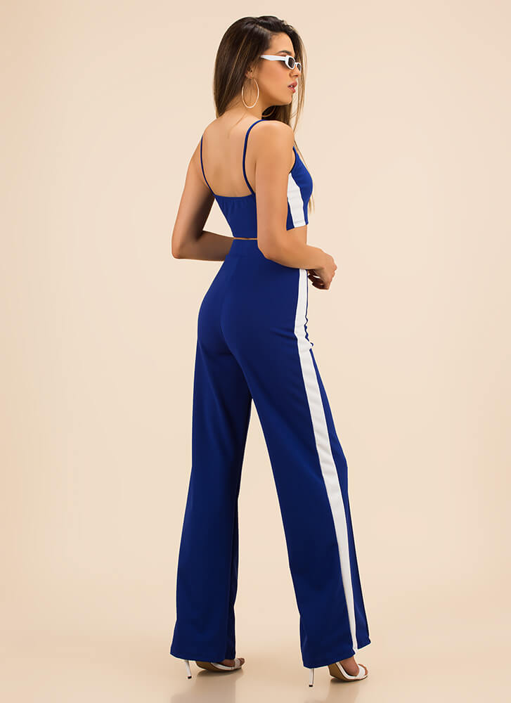 Fast Track Striped Top And Pant Set ROYAL