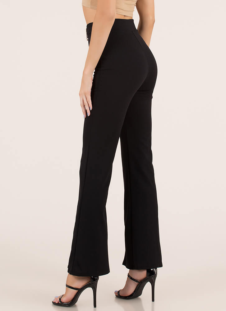 Belt Loop Pleated High-Waisted Pants BLACK
