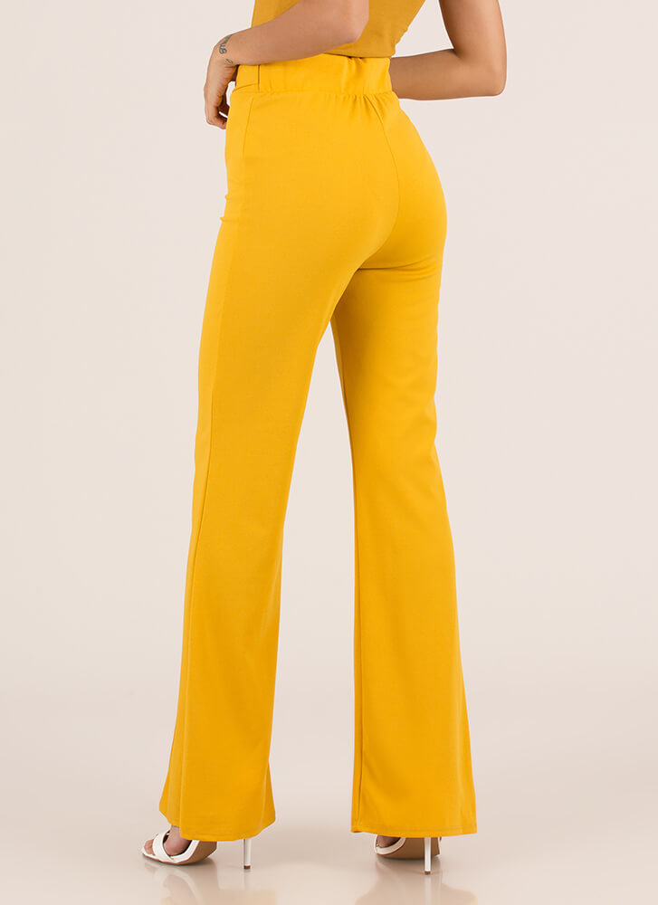 Belt Loop Pleated High-Waisted Pants MUSTARD