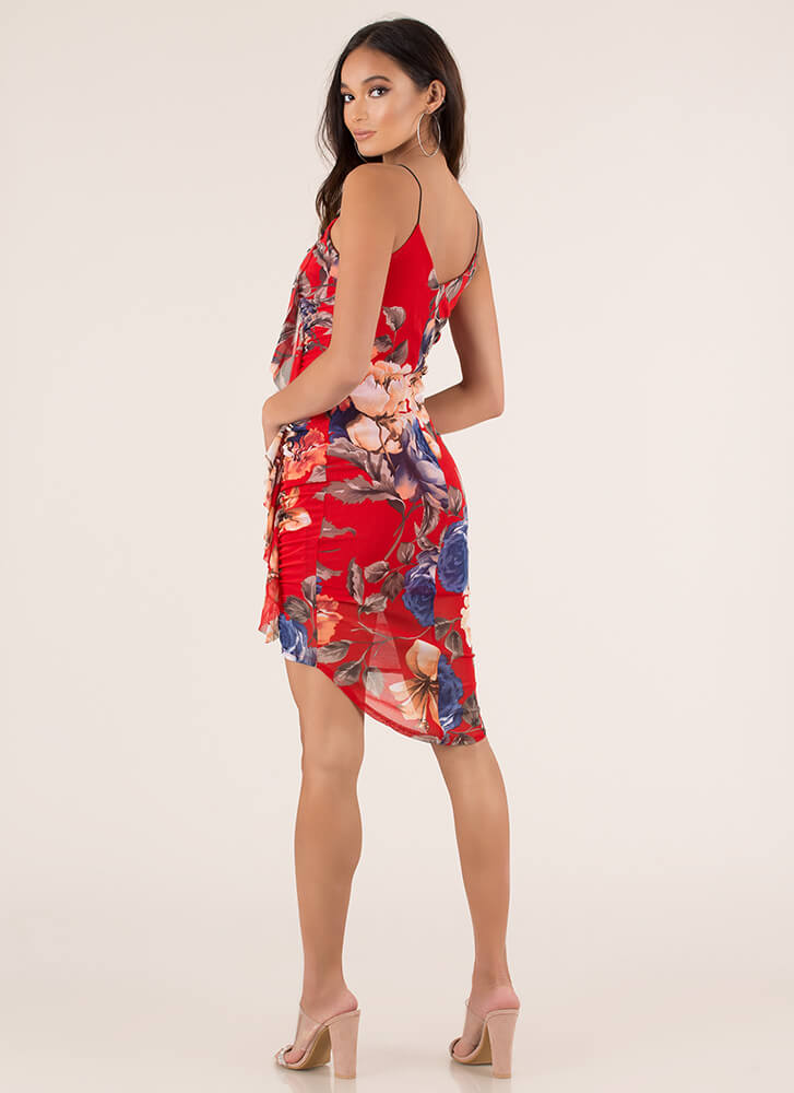 Flower Trip Ruched Ruffled Dress RED