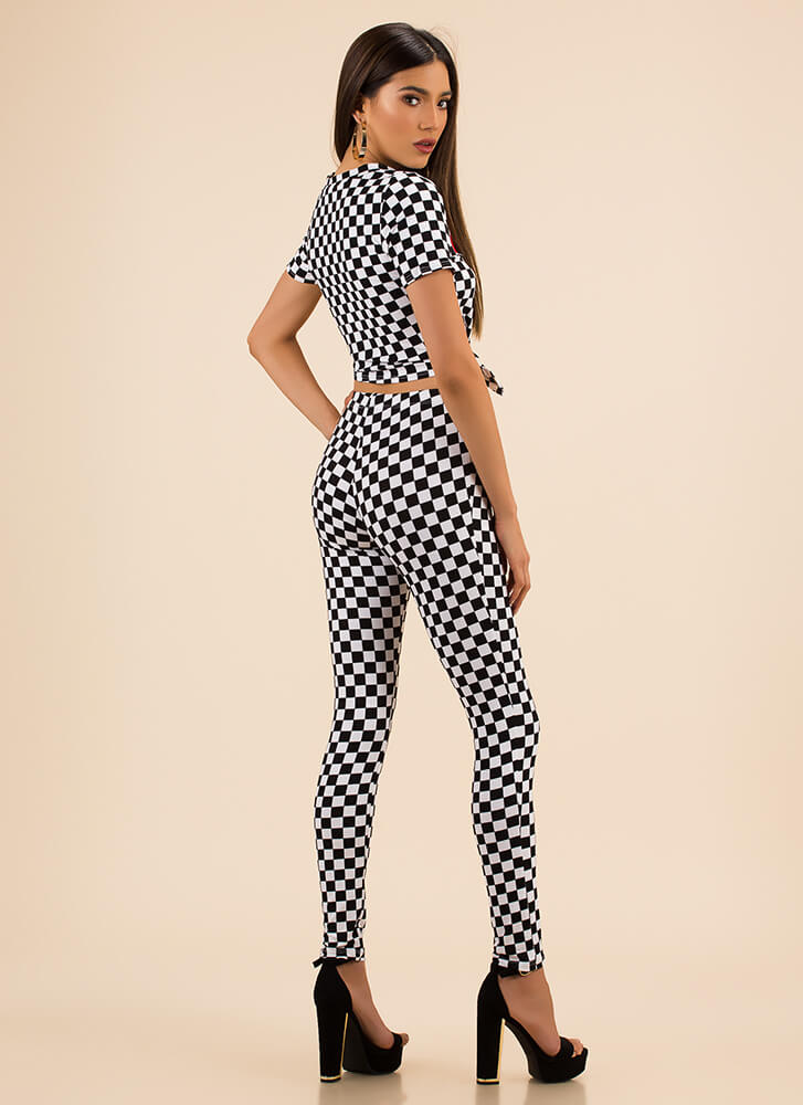 Super Woman Checkered Top And Pant Set BLACKWHITE