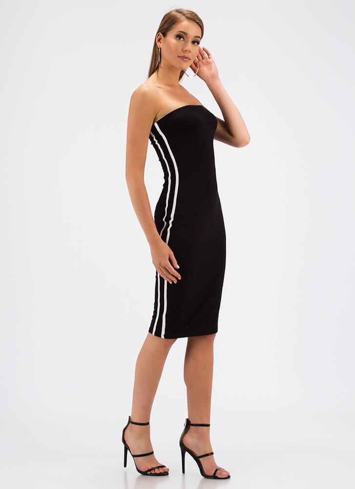 Side Lines Sporty Striped Tube Dress BLACK