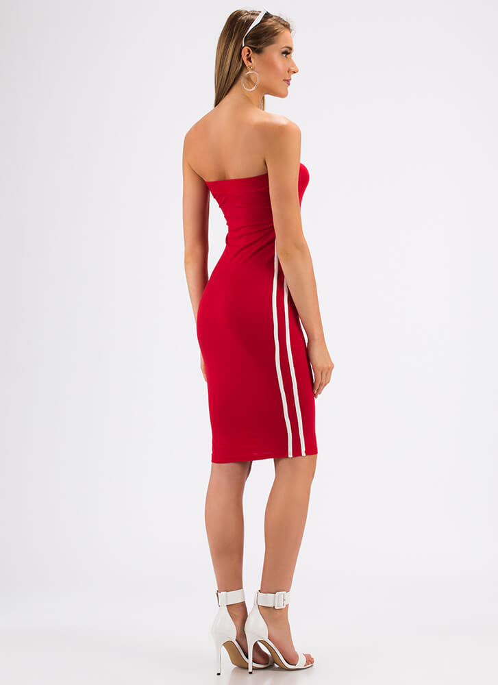 Side Lines Sporty Striped Tube Dress RED