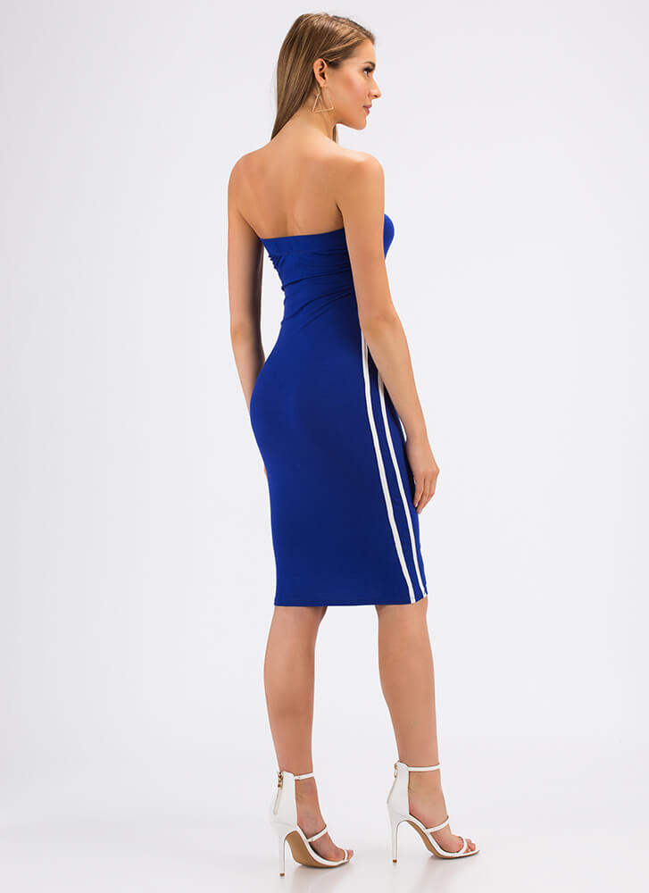Side Lines Sporty Striped Tube Dress ROYAL