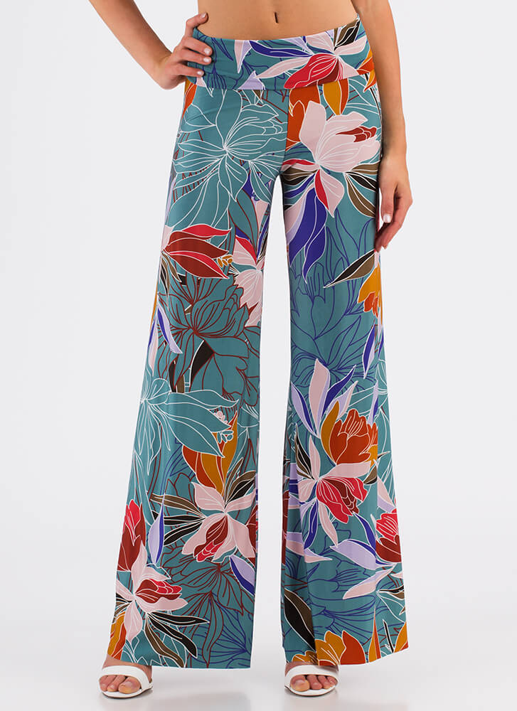 Stay Tropical Floral Print Palazzo Pants MULTI