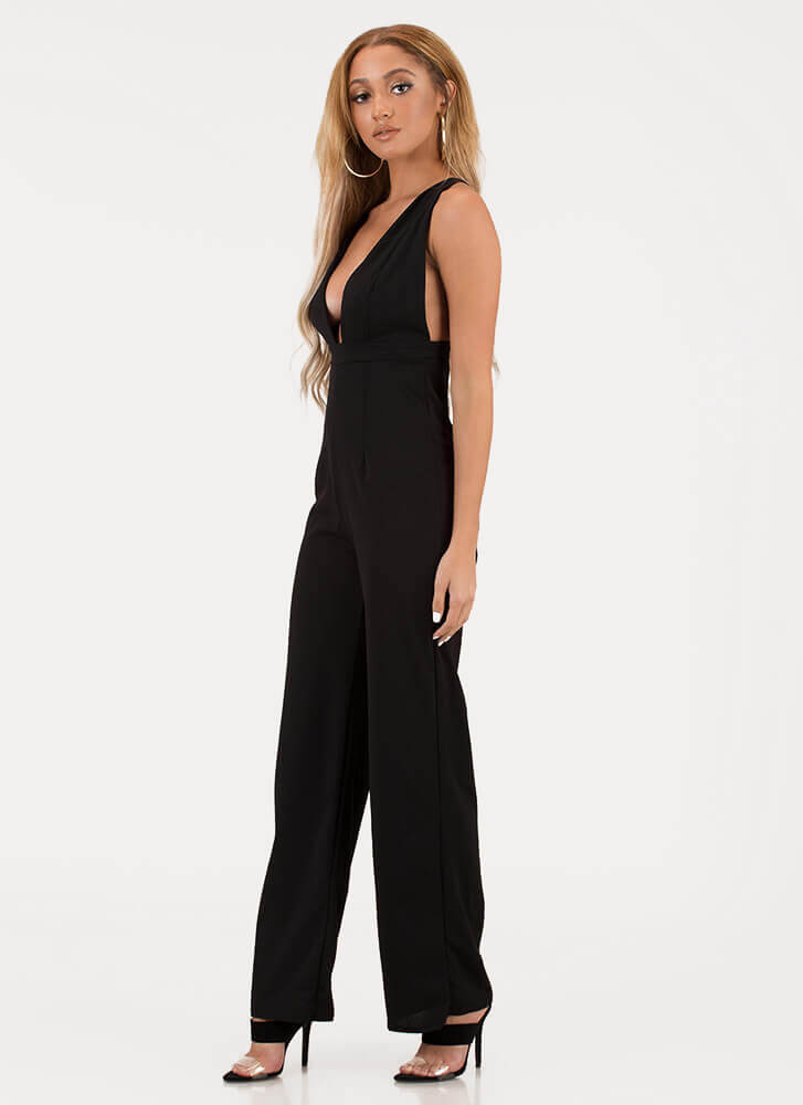 New Look Plunging Wide-Leg Jumpsuit BLACK