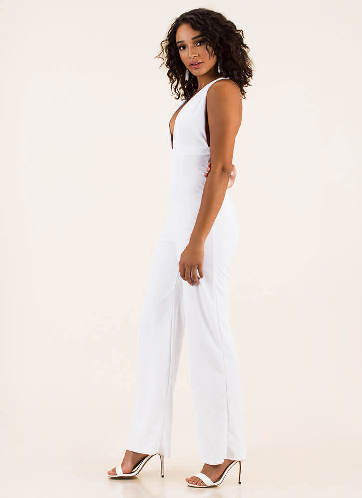 New Look Plunging Wide-Leg Jumpsuit WHITE