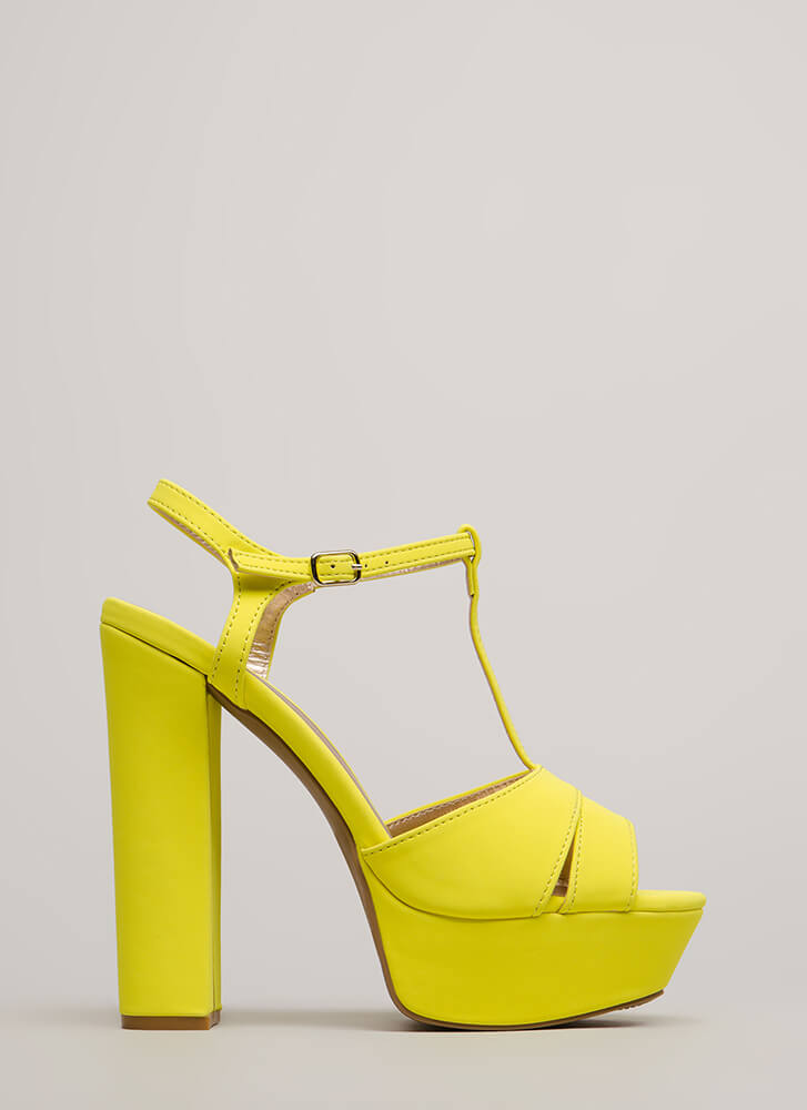 Tall Tales Chunky T-Strap Platforms NEONYELLOW