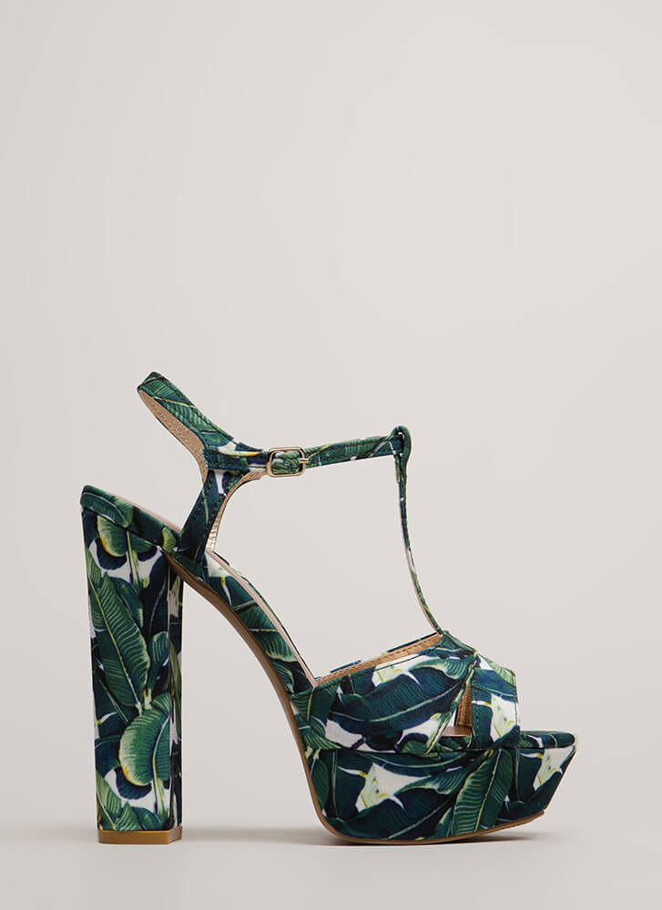 Tall Tales Tropical T-Strap Platforms GREENMULTI