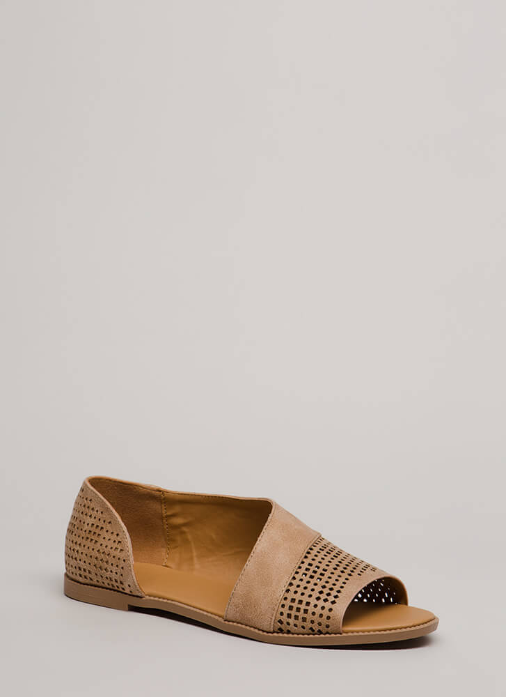 Open Up Distressed Perforated Flats TAN (Final Sale)